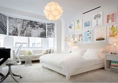 white bedroom with colorful accents