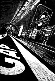 Wood engraving - exhibited in the Royal Academy Summer Exhibition 2015 A rat's-eye view of Clapham North tube station on the Northern line of the London Underground. Clapham North is one of o. Engraving Printing, Wood Engraving, Linocut Prints, Art Prints, Art Postal, London Eye, Perspective, A Level Art, Public Transport