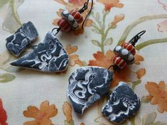 Something Fishy's Going On! Organic Boho Ceramic Earrings,  One Of A Kind Artisan Made, JosephineBeads, JBDRusticOrganic, Northernblooms