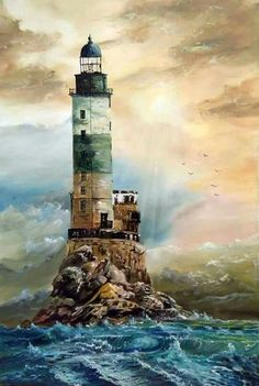 Painting Beach Scenes Seaside 65 Ideas For 2019 Lighthouse Painting, Lighthouse Pictures, Art Watercolor, Beacon Of Light, Sea And Ocean, Painting Techniques, Landscape Paintings, Scenery, Beautiful Pictures