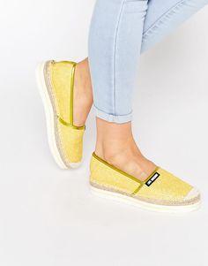 Love Moschino Yellow Glitter Espadrille Flat Shoes