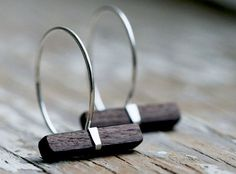Love these wood and silver hoop earrings sterling silver by MaryAnneKarren!