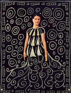 G. Klimt inspired project.  Striking. Could this be the Klimt lesson I have been hoping for after so many trial and errors?