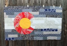 Scrappy Colorado flag quilt - blog post (no tutorial) from Stitchery Dickory Dock