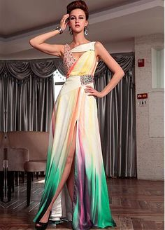 Exclusive  Ruched Floor Length Party Dress with Beadings
