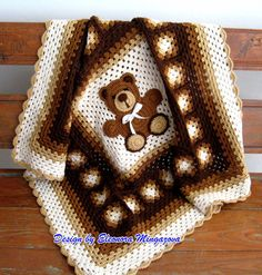 Crochet Teddy Bear blanket   Approximately 39 inches by 39 inches
