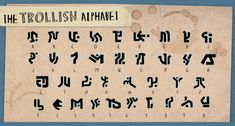 The complete Trollish Alphabet from Trollhunters Alphabet Code, Alphabet Symbols, Alphabet Writing, Dnd Languages, Glyphs Symbols, Trollhunters Characters, Different Alphabets, Spiderwick, Tsumtsum
