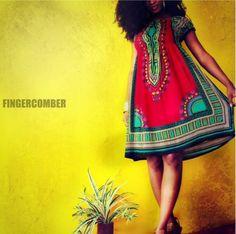 The GARDEN PARTY Dashiki Dress in BOHO-BERRY @ FINGERCOMBER.COM! #fingercomber #dashiki #kinkykurlout #kinkykurloutunit