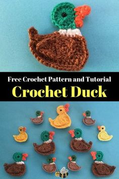 Get the free beginner crochet pattern for this mallard duck at Kerri's Crochet. #crochetpattern #beginnercrochet #crochetduck #kerriscrochet