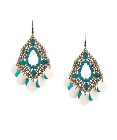 Lacquered Abalone Earrings - Antique Gold and Teal  $12
