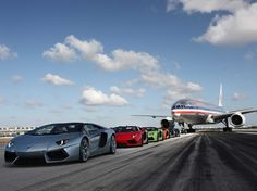 Lamborghini Aventadors on the Runway - Aviation Videos & Pictures