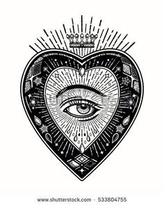 Ornate mystic eye inside the the decorative heart. Vintage alchemy and gothic style inspired art. Tattoo design, trendy romance symbol for your use. Heart Illustration, Tattoo Illustration, Bow Tattoo Designs, Mystic Eye, Sacred Heart Tattoos, 1 Tattoo, Tattoo Crown, Mystique, Gothic