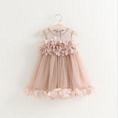 Malha Colete de verão Meninas Do Bebê Vestido de Princesa Vestido Da Menina de Moda Sem Mangas Pétala Decoração de Festa Roupas Chlidren