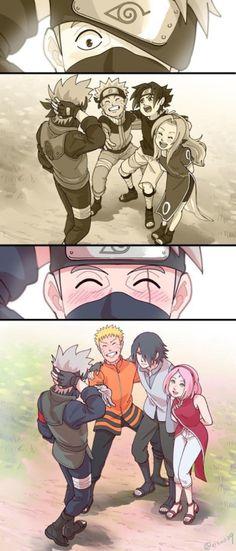 Team 7 Naruto Uzumaki , Sasuke Uchiha , Sakura Haruno and Kakashi Hatake Naruto Shippuden Sasuke, Naruto Kakashi, Anime Naruto, Naruto Team 7, Art Naruto, Naruto Gaiden, Naruto Sasuke Sakura, Naruto Cute, Sasunaru