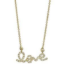 14k Yellow Gold Round Diamond Love Necklace from Borsheims