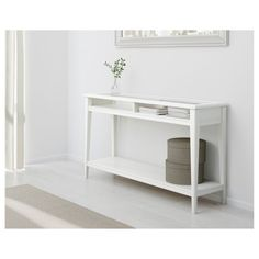 LIATORP Console table, white, glass, 52 Are you a romantic at heart? Combine with other furniture in the LIATORP series for a complete, beautiful look. Table Console Ikea, Table Console Blanche, Entryway Tables, Ikea Entryway, Buffet Tables, Side Tables, White Sofa Table, White Sofas, Table Storage