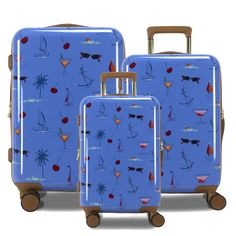 Taking a vacation is pretty much needed for a  healthy spirit, so grab yourself this vacation ready luggage, and prepare to float away without a worry. Made from Polycarbonate/ABS material this luggage set is super light weight and easy to carry around. This luggage also comes with eight 360 multi-directional spinner wheels, pivoting on a dime for any tight corner! Hardside Luggage, Luggage Sets, Wheels, Corner, Spirit, Vacation, Healthy, Easy