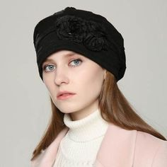 Autumn winter flower knit beret hat for women