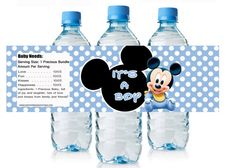 Baby Mickey Mouse Baby Shower Water Bottle Labels by Andabloshop