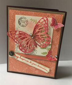 Pretty Stampin up card made with the Butterfly thinlets and Butterfly basics stamp set. Love the Something Lacy background stamp!