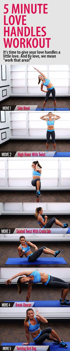 5 minute LOVE HANDLES workout. Get a stronger core and chiseled waist with these 5 great moves that target the obliques.#abs #flatstomach #flatbelly #abworkout #sixpackworkout #bellyfat #muffintop #workoutforwomen