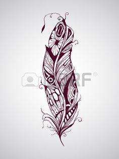 Plume de tatouage dessiné vecteur de main très détaillée Banque d\u0027images