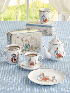 Shop this Beatrix Potter Peter Rabbit Classic Porcelain Teapot. Made with fine German porcelain, this collectible teapot is hand detailed with real gold. Peter Rabbit And Friends, Tea Tins, Tea Pot Set, Porcelain Mugs, Beatrix Potter, Afternoon Tea, Tea Party, Gadgets, Teapots