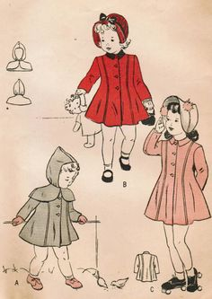 1940s Butterick 4434 FF Vintage Sewing Pattern Toddler's Princess Coat, Hooded Cape Size 3
