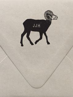 Big Horn Sheep Monogram Custom Stamp  | Sycamore Street Press