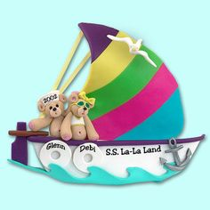Belly Bear Family of 2 / Couple in Sailboat Polymer Clay Personalized Christmas Ornament