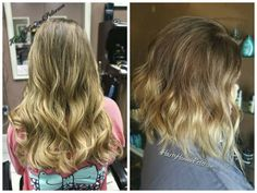 """30 Likes, 2 Comments - Hannah Hansen (@hairbyhannahpeterson) on Instagram: """"Before and After! We cut just a few inches off into a long bob 😉 then used @redken to darken her…"""""""