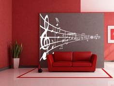 Huge 3 Feet Wide Wall Decal Music Wall Decor Musical Notes Vinyl Wall Decal  Sticker B1604