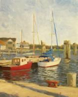 Plein air painting of Silver Lake at Ocracoke Island, NC