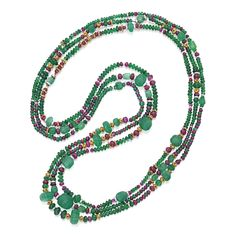 Three Gold, Emerald, Ruby and Diamond Necklaces The three long strands composed of fluted and polished emerald beads weighing approximately 900.00 carats, spaced by polished ruby beads weighing approximately 55.00 carats, set with platinum and gold spacers, accented by round and rose-cut diamonds weighing approximately 4.50 carats, lengths approximately 33½, 34 and 36 inches, one necklace with several diamonds missing.
