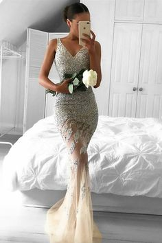 Mermaid Lace Appliques Sleeveless Beads Tulle Evening Dress PG350