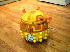 Dalek pumpkin is prepared to exterminate trick-or-treaters