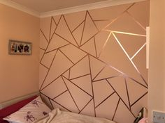 Rose gold washi tape to create a feature wall, two and half rolls of 10 meter long tape used Bedroom Wall Designs, Accent Wall Bedroom, Room Design Bedroom, Room Ideas Bedroom, Diy Wall Decor For Bedroom Easy, Design Room, Design Bathroom, Design Design, Bathroom Ideas