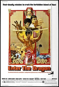 Director:Robert ClouseStars:Bruce Lee, John Saxon, Jim KellyGenre:Kung Fu, Spy  Enter the Dragonis the film that solidified Bruce Lee's international fame and it is by far his most well-known film (at least outside of China). It also marks the first time that a Chinese film studio (Golden Harvest) and a Hollywood film studio (Warner Bros.)