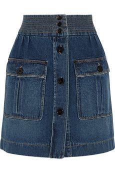 Chloé Stonewashed denim mini skirt   NET-A-PORTER