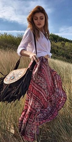 Hippie Style Perfection Top Plus Skirt Plus Bag Hippie Style, Gypsy Style, Bohemian Style, Boho Chic, My Style, 30 Outfits, Boho Outfits, Cute Outfits, Fashion Outfits