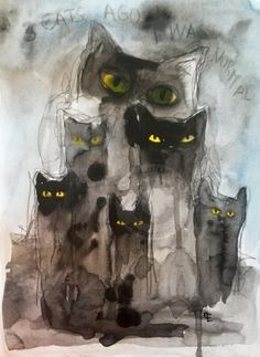 3 CATS AGO... (Painting),  21x28.5 cm par evafialka Abstract ink & watercolor painting on heavy paper 300gr.