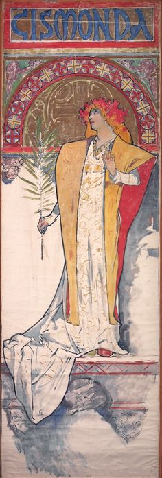 Design for the poster Gismonda.1894. 198 x 67 cm. National Gallery, Prague, Czech Republic.  Art by Alfons Mucha.(1860-1939).