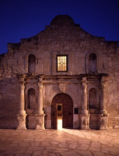 The Alamo in San Antonio, Texas.  I would like to think the defenders of the Alamo, after having completed their defense of liberty in Texas, simply stepped through an open door and into the Light of Freedom.   Picture courtesy of Texas Highways Magazine.