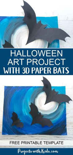 A full moon, spooky Halloween sky and flying bats all come together to make this awesomely spooky Halloween art project that kids will love to create! art projects for kids Halloween Art Project with Paper Bats Halloween Art Projects, Halloween Arts And Crafts, Halloween Designs, Projects For Kids, Halloween Activities For Kids, Fall Art Projects, Halloween For Kids, Haloween Craft, Bats For Kids