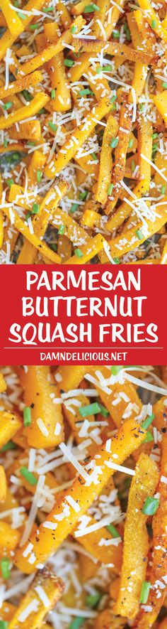 Parmesan Butternut Squash Fries - Crisp-tender Parmesan fries, baked to absolute perfection. Except these are actually healthy, and completely addicting!(Recipes To Try Parmesan) Side Dish Recipes, Vegetable Recipes, Vegetarian Recipes, Cooking Recipes, Healthy Recipes, Side Dishes, Butternut Squash Fries, Parmesan Fries, Vegan Parmesan