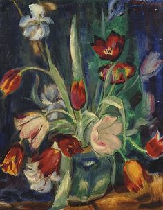 Still life with Tulips by Jan Sluijters. PDF cross stitch by Maxispatterns on Etsy Intermediate Colors, Dutch Tulip, Dutch Painters, Painting Still Life, Dutch Artists, Impressionism, Flower Art, Rotterdam, Cross Stitch