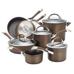 Symmetry Chocolate Hard Anodized Nonstick 11 Piece Cookware Set Circulon Cookware Set Cook