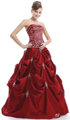FairOnly Burgundy Strapless Wedding Dress Bridal Gown Stock Size 6 8 10 12 14 16