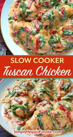 Slow Cooker Creamy Tuscan Chicken recipe is an easy meal to make, and it tastes like you went to a restaurant! With this crock pot tuscan chicken recipe you can have a delicious meal on the table that the whole family will love! Creamy Tuscan Chicken Recipe, Crock Pot Tuscan Chicken, Easy Chicken Recipes, Recipe Chicken, Easy Recipes, Keto Chicken, Simple Crock Pot Recipes, Chicken Crock Pot Meals, Crock Pot Pasta