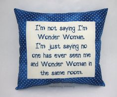 Funny Cross Stitch Pillow, Blue Pillow, Girl Power Quote